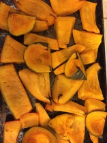 """Roasted slices of kabocha and pumpkin"""
