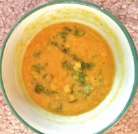 """Red Lentil Soup with some Kale"""