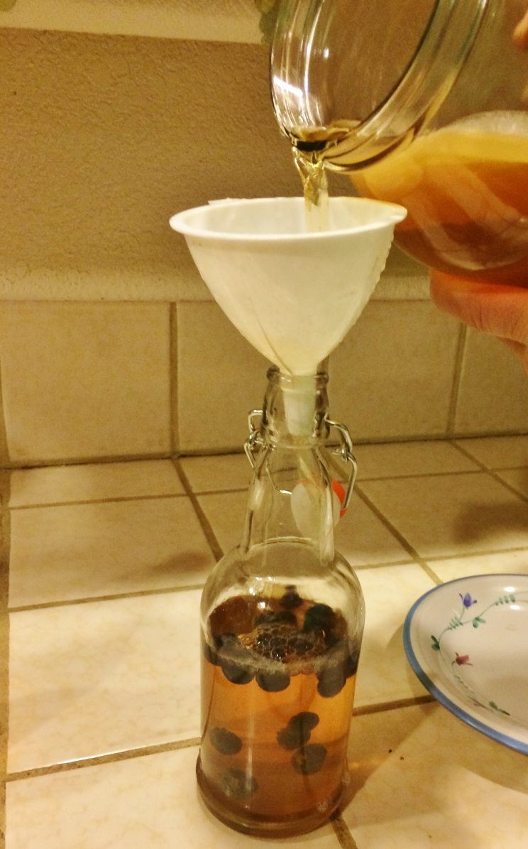 """Pouring the week old kombocha into jars with blueberries"""