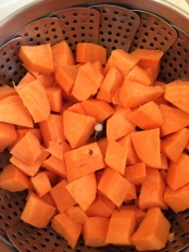 """Sweet potatoes, peeled and steamed"""