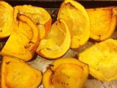 """Scrape pulp from roasted pumpkin"""