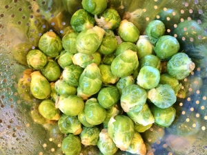"""Rinse and trim the Brussel sprouts"""