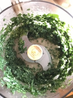 Blend lemon balm, parsley, oil, garlic and lemon juice