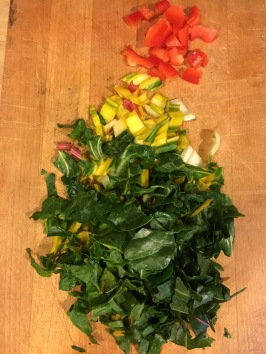 Chop rainbow chard stem and leaves