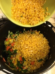 Add split peas to the cooked veggies