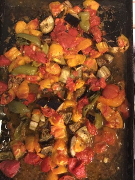 Roast for about 30 minutes, add to sautéed veggies