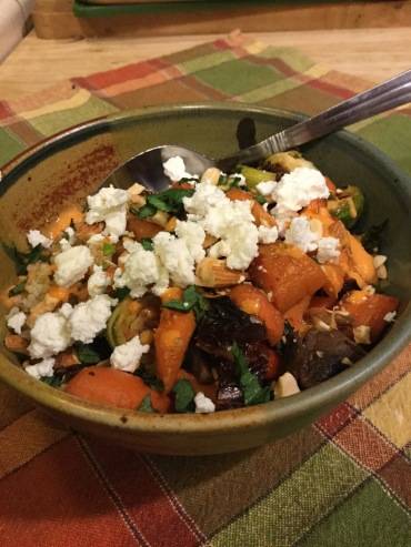 Add crumbled goat cheese & Spicy Sauce with yogurt
